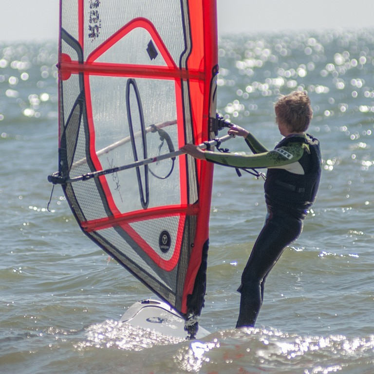 Windsurfing into the horizon