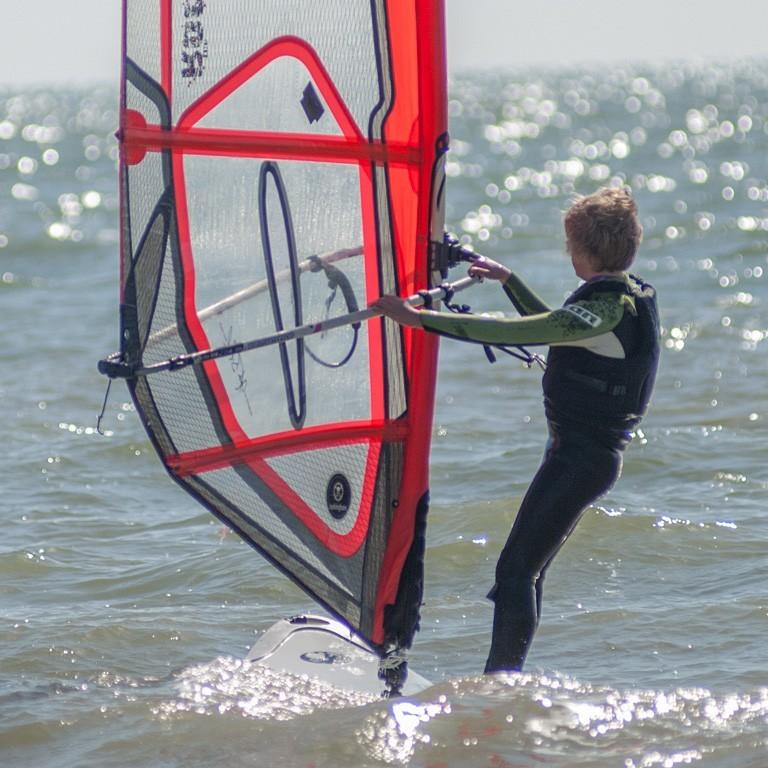Windsurfing into the horizon